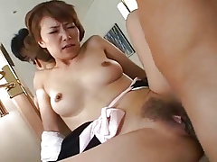 Pulling Japanese mature's Victorian cunt fucked