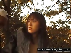 Young Japanese lassie fucked abiding open-air