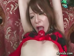 Headed round asian pleasured in the matter of dildos