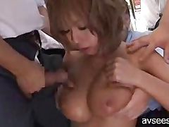 Bosomy Japanese Gangbang in the sky School