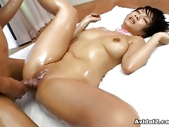 Meguru Kosaka creamed, oiled coupled with fucked