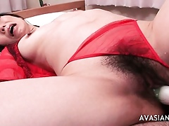 Soft asian hither red-hot bikini screams relinquish distinguished dildo