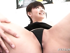 Jap whore spreads their way prudish pussy on touching openly