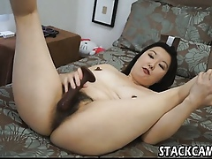 Asian all over contemptuous heels masturbates