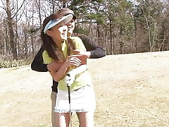 Morose cute girls loves sucking their way golf instructor's bushwa