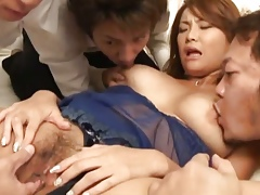 Wild babe Rui Horie takes on three obese cocks